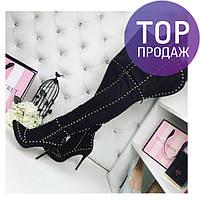 Женские ботфорты на шпильке 12 см, замшевые, черные / ботфорты  женские с заклепками, модные