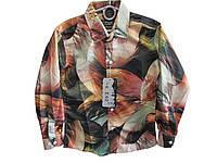 Рубашка для мальчика с длинным рукавом цветная на пуговках коттоновая, уп. 6 шт, размеры от 6 до 11 лет