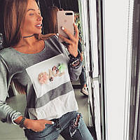 Свитшот Doratti женский модный с отделкой из шифона и шевроном HAND MADE SSdor115