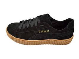 Підростковые кроссовки нат.кожа замш Rihanna PR Black Размер: 36 37 38