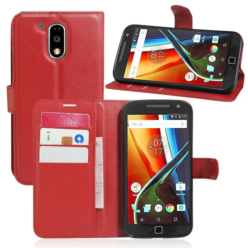 Чехол Motorola Moto G4 / G4 Plus / XT1622 / XT1642 книжка PU-Кожа красный