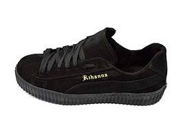 Підростковые кроссовки нат.кожа замш Rihanna Black Размер: 40