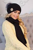 Женский вязаный комплект шапка с бубоном и шарф Синди в разных цветах