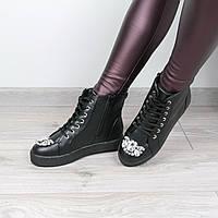 Ботинки женские демисезонные MIu Miu черные, зимняя обувь