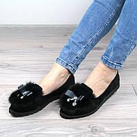Балетки мокасины женские MiMi кролик черные, осенняя обувь