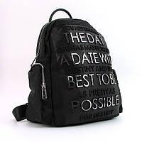 Черный женский рюкзак day-5602bla текстильный городской с декором
