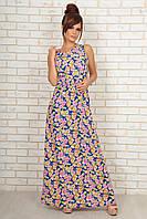 """Летнее макси-платье без рукавов """"Элеонора"""" с цветочным принтом и вырезом на спине (2 цвета)"""