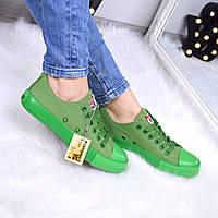 Кеды женские All Stars Converse зеленые 3329 (мокасины)