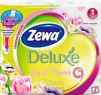 Туалетная бумага Zewa Делюкс Цветы (белая) 4рулона, 21м, 150листов 3слоя