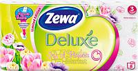 Туалетная бумага Zewa Делюкс Цветы (белая) 8рулонов, 21м, 150листов 3слоя