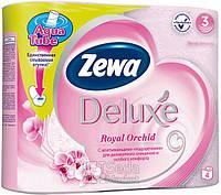 Туалетная бумага Zewa Делюкс Орхидея (розовая) 4рулона, 21м, 150листов 3слоя