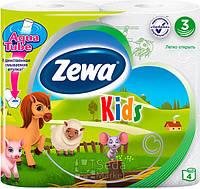 Туалетная бумага Zewa Кидс 4рулонов, 21м, 150листов 3слоя