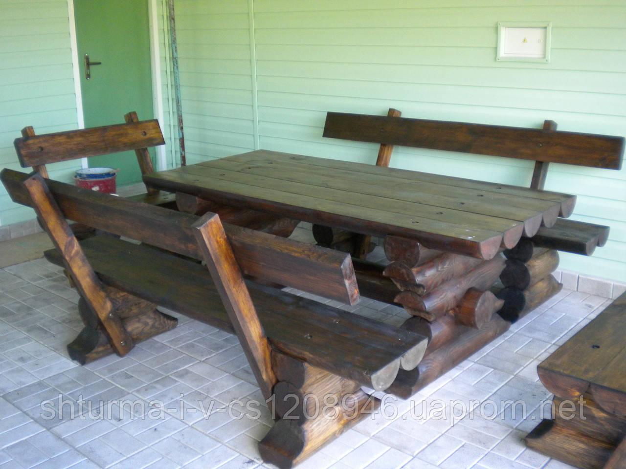 Комплект стол с лавочками со сруба