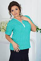 """Летняя женская блуза штапель """"Erlen"""" с коротким рукавом (большие размеры)"""