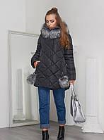 Теплая Зимняя Куртка с Меховыми Бубонами Черная р.42