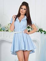 """Асимметричное летнее платье-рубашка в полоску """"Бланка"""" с поясом и коротким рукавом (2 цвета)"""