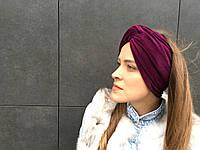 Бархатный тюрбан бордового цвета