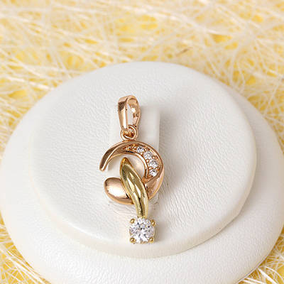 R4-0747 - Кулон с прозрачными фианитами мультиколор (розовое золото 18 карат+золото 14 карат)