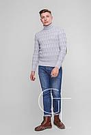 Мужской свитер с высоким горлом и налокотниками