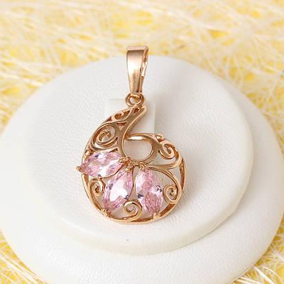 010-0749 - Кулон с розовыми фианитами розовая позолота