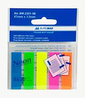 Стикер-закладка, пластик, 45*12 мм, 5 цветов неон по 20 шт, Buromax, BM.2301-98, 230198