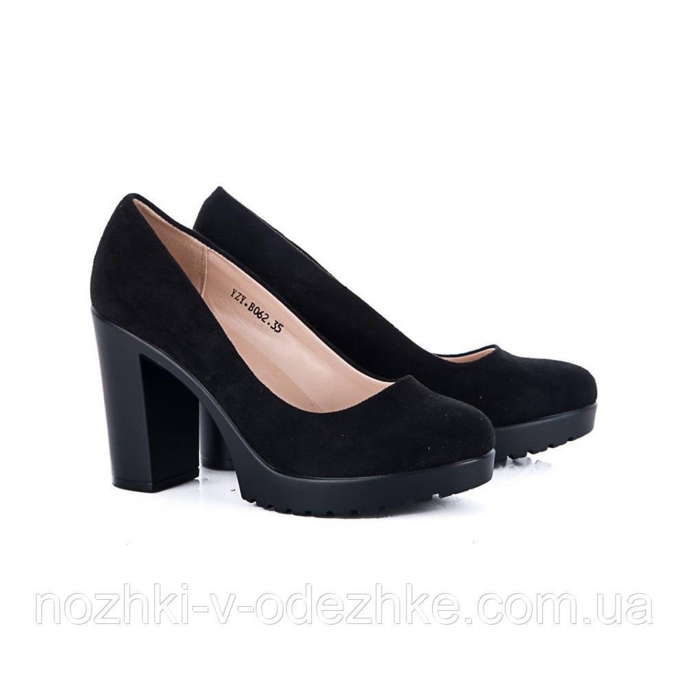 Женские замшевые туфли на среднем каблуке эко кожа - Интернет магазин