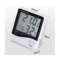 Цифровой термо-гигрометр HTC-1 (термометр: -10 °C~+50 °C; гигрометр: 10%-99%), часы, будильник