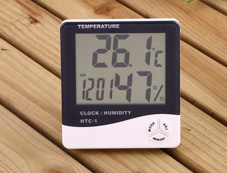 Термометр HTC-1 + гигрометр, часы, будильник - Сто грамм в Киеве