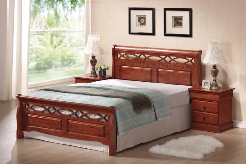 Двуспальная деревянная кровать Signal Genewa 160x200см черешня античная с ортопедическими ламелями