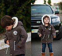 Парка детская на меху на мальчика в расцветках 21421, фото 1