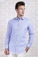 Рубашка приталенная голубая в якоря, фото 1