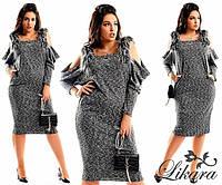 """Стильное женское платье в больших размерах """"Меланж Плечи Мех"""" (87-595 )"""