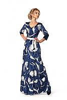 Элегантное женское бархатное платье в пол темно-синего цвета