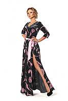 Длинное женское бархатное платье черного цвета