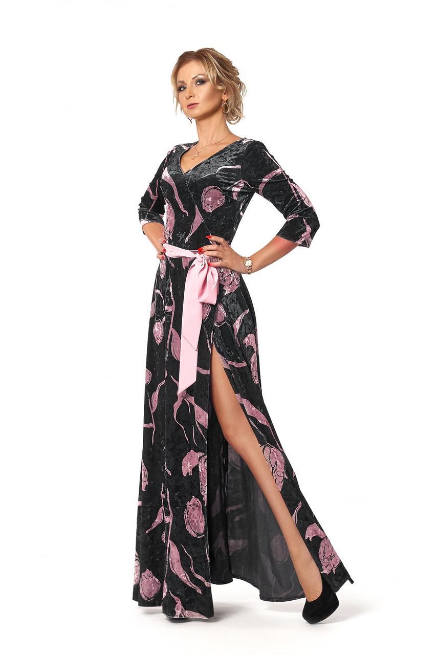 1504c8044a5 Элегантное женское бархатное платье в пол темно-синего цвета ...