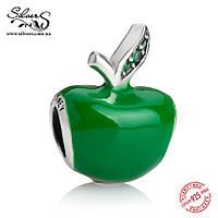 """Серебряная подвеска шарм Пандора """"Зеленое яблоко. Disney"""""""