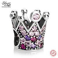 """Серебряная подвеска-шарм Пандора (Pandora) """"Корона"""" для браслета"""