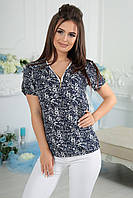 """Летняя женская блуза штапель """"Erlen"""" с коротким рукавом"""