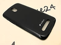 TPU чехол Melkco для HTC Desire 500 чёрный + пленка