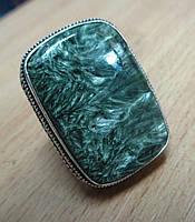 """Серебряный перстень  с натуральным серафинитом """"Еловый лес"""" , размер 17.7 от студии LadyStyle.Biz"""