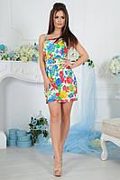 """Облегающее летнее мини-платье на бретельках """"Николина"""" с цветочным принтом (2 цвета)"""