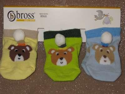 Набор 3 шт Носочки для новорожденных Bross ( 0-3 мес ) роддом