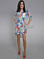 Платье - сетка в цветочном принте - 3784