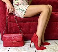 Туфли женские Эко Замша Красные Лодочки