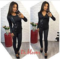 Черный замшевый костюм двойка с курткой