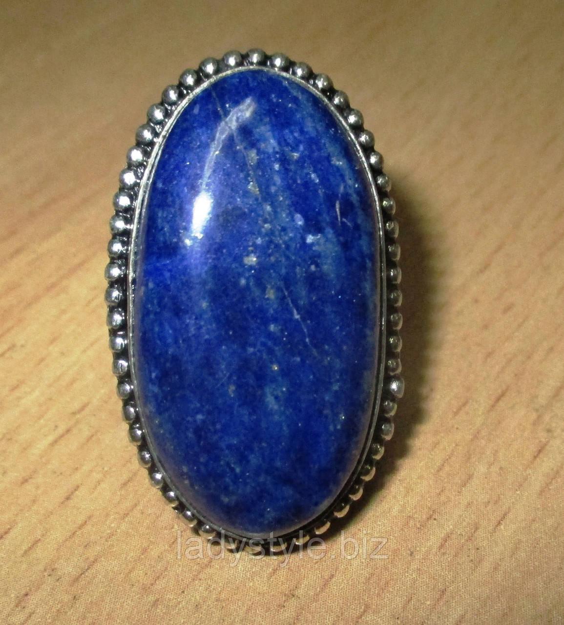 """Овальное кольцо """"Овал"""" с лазуритом, размер 18.2"""