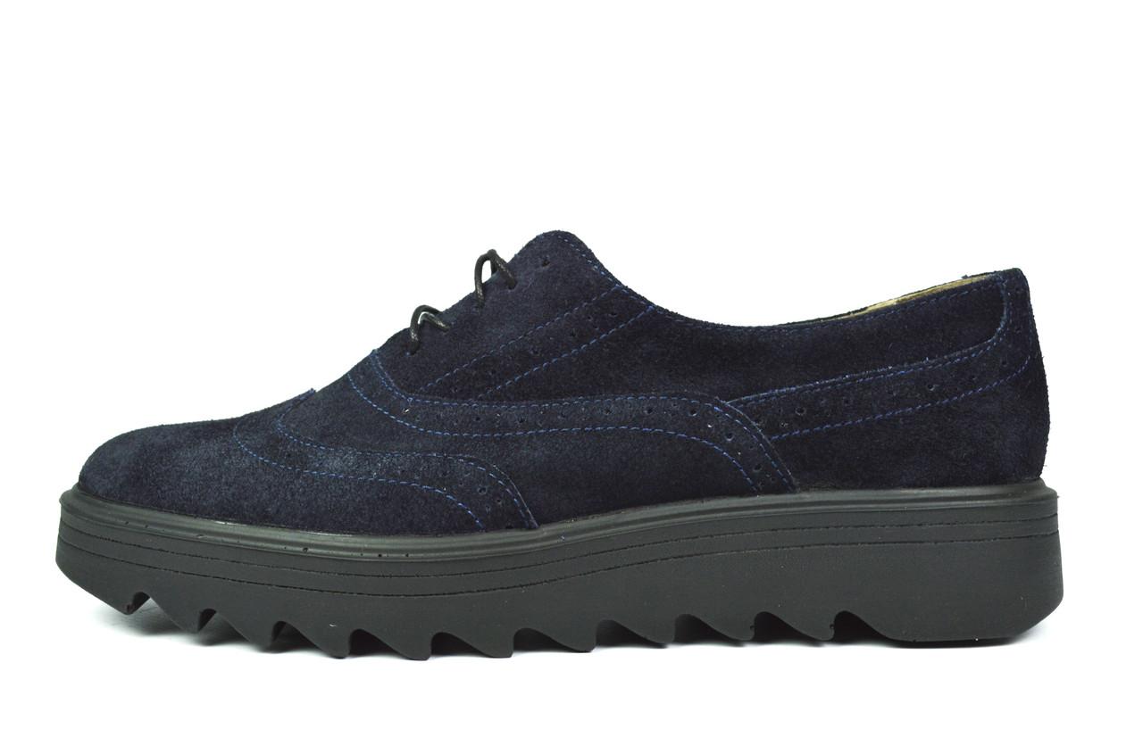 Темно-синие замшевые женские туфли-броги MITRO на тракторной подошве ( новинка весна, лето, осень )