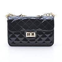 Женская сумка клатч черная лак