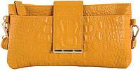 Элегантныйженский кожаный клатч с тиснением под кожу крокодилаTraum 7311-15, желтый