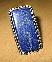 """Овальное кольцо """"Прямоугольник"""" с лазуритом, размер 18.8  от студии LadyStyle.Biz"""